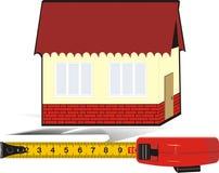 Mètre et maison de mesure. Logo images libres de droits
