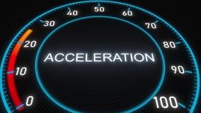 Mètre ou indicateur futuriste d'accélération Animation 3D conceptuelle illustration stock
