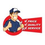 Mécanicien avec la liste de service illustration de vecteur