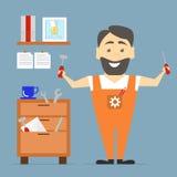 Mécanicien de travailleur rester Le travailleur maintient les outils dans leurs mains illustration de vecteur