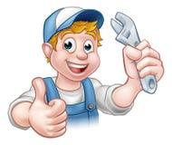 Mécanicien ou plombier de personnage de dessin animé Photo stock