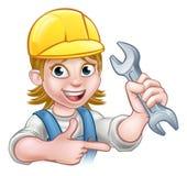 Mécanicien ou plombier féminin Cartoon Character Photo stock