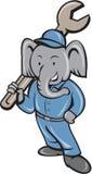 Mécanicien Spanner Standing Cartoon d'éléphant Photographie stock libre de droits