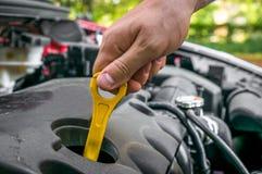 Mécanicien vérifiant le niveau d'huile dans un moteur de voiture Photographie stock