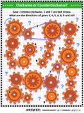 Mécanique visuelle ou puzzle de maths avec les vitesses et les commandes par courroie tournantes illustration libre de droits