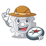 Mécanisme d'arrangements de vitesse d'explorateur sur la forme de mascotte illustration stock
