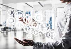 Mécanisme de roues dentées et de vitesses en tant que concept social de communication images stock