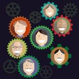 Mécanisme de travail d'équipe, composition en affaires de personnes - Image stock