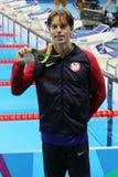 Médaillé d'argent Connor Jaeger des Etats-Unis pendant la présentation de médaille au ` s d'hommes style libre de 1500 mètres de  Image stock