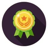 Médaille avec l'icône de ruban dans la conception plate Photo libre de droits