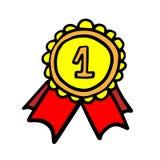 Médaille avec la conception graphique d'illustration de vecteur d'icône de ruban griffonnage illustration libre de droits