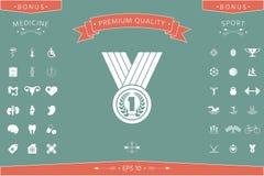 Médaille avec la guirlande de laurier graphisme illustration de vecteur