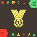 Médaille avec la guirlande de laurier graphisme illustration libre de droits