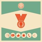 Médaille avec la guirlande de laurier, icône illustration stock