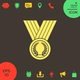 Médaille avec la guirlande de laurier, icône illustration de vecteur
