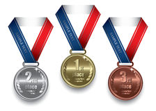 Médaille d'or, argentée et de bronze Photos stock