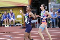 Médaille d'or de victoire d'Inde de HIMA DAS dans 400 metrs sur le championnat du monde U20 d'IAAF à Tampere, Finlande le 12 juil photographie stock libre de droits