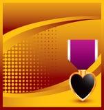 Médaille de coeur pourpré sur le fond tramé jaune illustration libre de droits