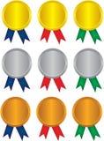 Médaille de victoire avec les bandes colorées Image libre de droits