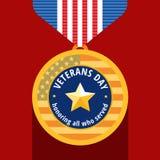 Médaille plate de jour de vétérans Image libre de droits