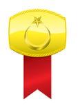 Médaille turque de drapeau et d'or Photo stock