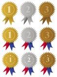 Médailles/bandes de récompense Photographie stock libre de droits