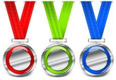 Médailles blanc Photo stock