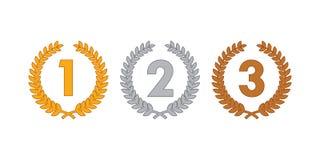 Médailles de guirlande de laurier Image stock