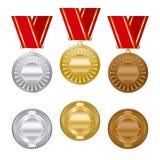 Médailles de récompense d'argent et de bronze d'or réglées Photo libre de droits