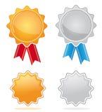Médailles de récompense d'or et d'argent Images libres de droits