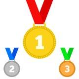 Médailles de récompense sur le blanc Photographie stock libre de droits