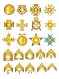 Médailles et rangs militaires Photo stock