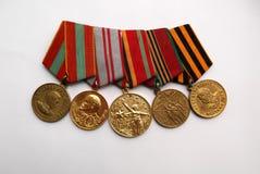 Médailles militaires russes de la deuxième guerre mondiale images libres de droits