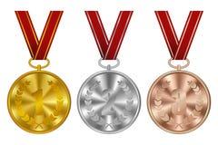 Médailles, récompenses de gagnant Médaille d'or, argentée et en bronze de sports avec le ruban rouge Vecteur illustration de vecteur