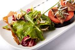 Médaillons de boeuf sur la tomate et l'aubergine grillée photos stock