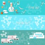 Médecin d'ambulance de bannières de médecine illustration stock
