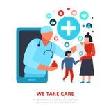 Médecin de famille Online Medicine Illustration illustration de vecteur
