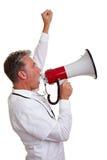 Médecin protestant avec le mégaphone Photo stock