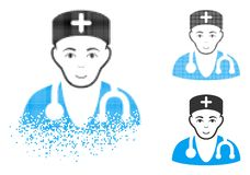 Médecin tramé détruit Icon de Pixelated avec le visage illustration libre de droits