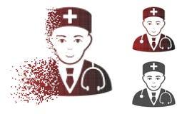 Médecin tramé pointillé décomposé Icon avec le visage illustration stock