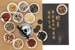 Médecine de chinois traditionnel d'acuponcture Photos libres de droits