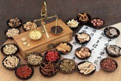 Médecine de fines herbes chinoise photo stock