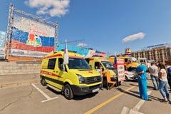 Médecine de soins intensifs de voitures à l'exposition de l'equipm spécial image stock