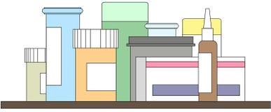 Médecine et pilules assorties sur l'étagère, aucun fond illustration libre de droits