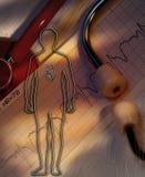 Médecine - médecins Stethoscope et trace de coeur Photos libres de droits