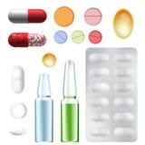 Médecine, pharmacie, ensemble d'hôpital de vecteur de drogues Images libres de droits