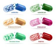 Médecines avec l'ensemble de vecteur de bactéries de Probiotics illustration stock