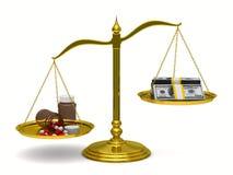 Médecines et argent sur des échelles. 3D d'isolement Photographie stock libre de droits