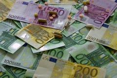 Médecines et l'euro Photo libre de droits