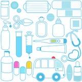 Médecines, pillules, matériels médicaux Photo stock